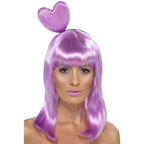 Women/'s Girls Lilac Candy Queen Lady Gaga Fancy Dress Wig Hen Night Concert Fun