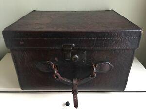 7ecc7c3b1 Antique 19th Century Leather Hat Box Travel Case Suitcase Brown ...