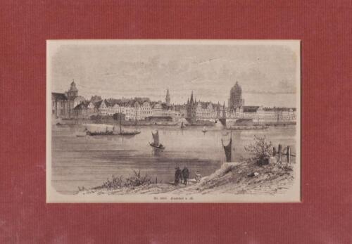 Frankfurt/Main Ansicht mit dem eisernen Steg und Dom  Holzstich ~ 1870