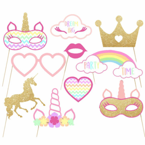Rainbow Unicorn Mask Crown Photo Booth Paper Props Birthday Party Decor Selfie