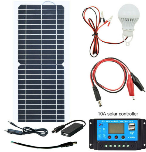 12V 10W  Portable Solar Panel Kit+10A Controller for RV Car Camping Boat Charger