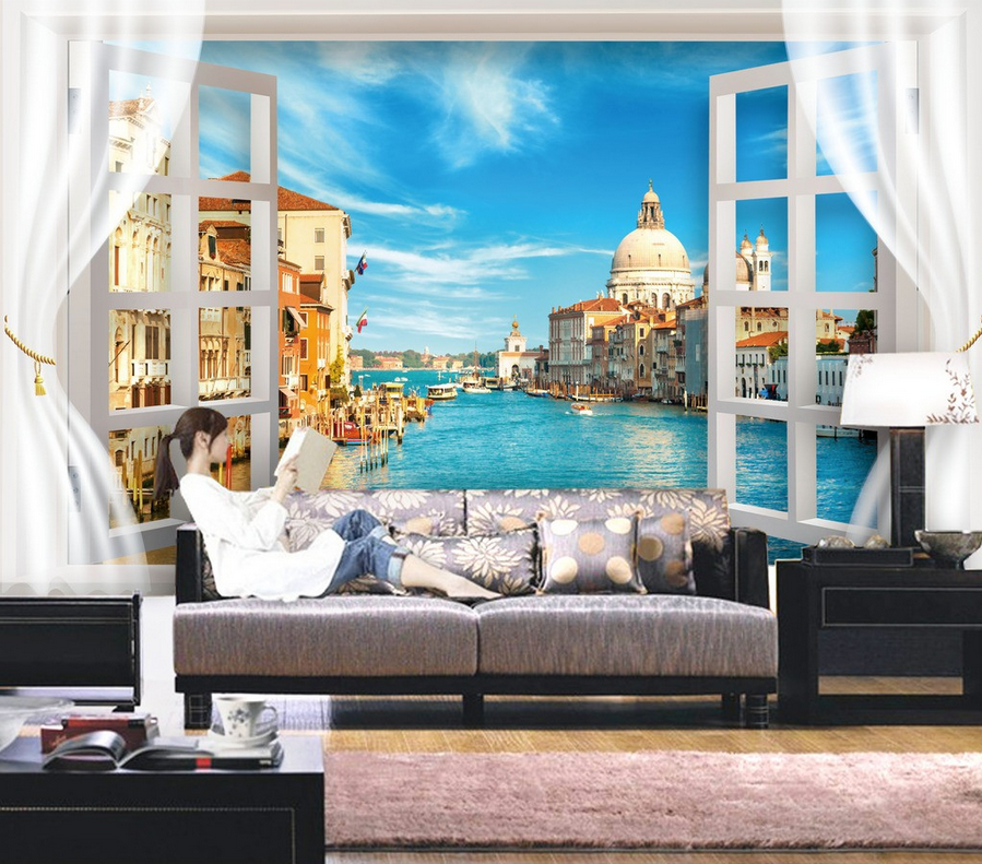 3D Water City Building 25 Paper Wall Print Wall Decal Wall Deco Indoor Murals
