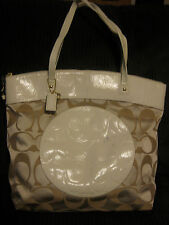 COACH LAURA SIGNATURE KHAKI WHITE LEATHER TOTE PURSE HANDBAG HOBO 18335