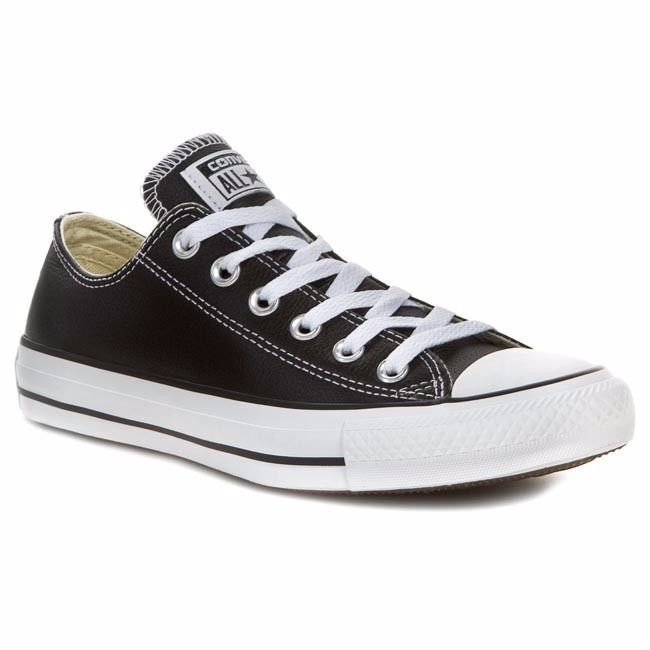 Converse CT OX Low Black Leather 132174C Mens Size 8 Womens Size 10 Shoes
