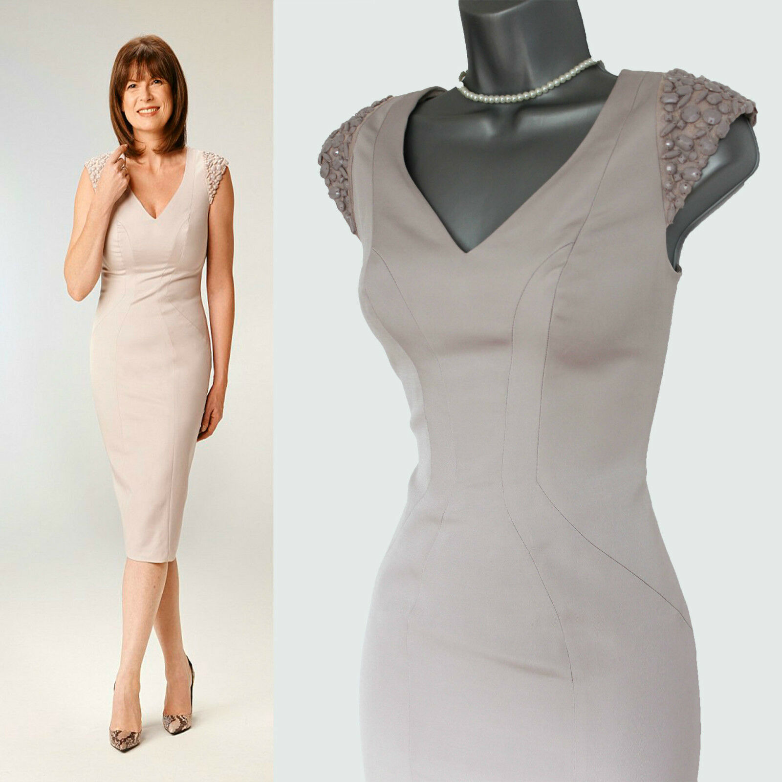 COAST Nude Shoulder Detail Zip On The Back Formal TailGoldt Dress UK 8  EU 36