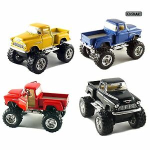 Set-of-4-Trucks-5-034-1955-Chevy-Car-4x4-Pick-Up-Monster-Truck-Kids-Toy-Game-Gift