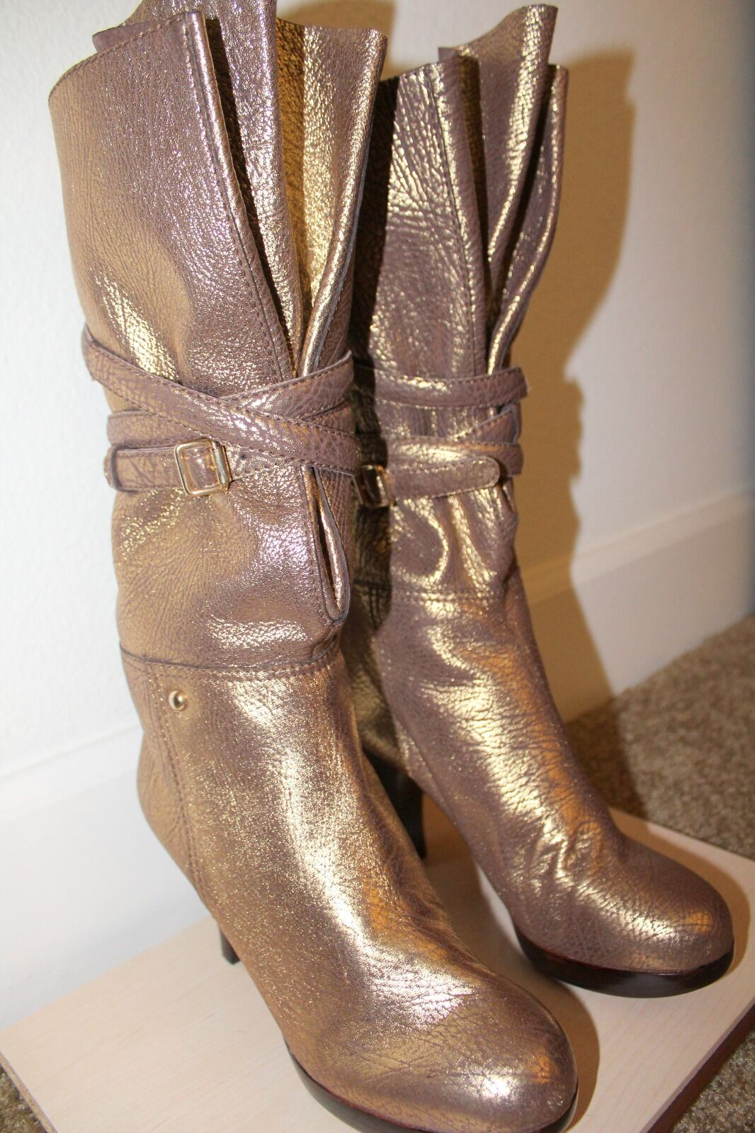 7 For All Mankind Simone Gold Boots Size 8 NEW