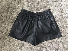 ZARA Black High Waisted Leather Smart Work Office Holiday Shorts Medium M UK 10