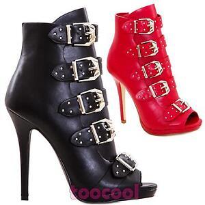 Scarpe-Donna-stivaletti-ankle-open-toe-fibbie-borchie-tacco-alto-nuove-K2L6329-7
