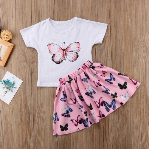 UK NEW Baby Toddler Kid Baby Girl Top T-shirt+Skirt Dress Outfit Set 2pcs Set