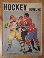 HOCKEY BLUELINE March 1959 Montreal Canadiens vs Boston Bruins Magazine REFEREE