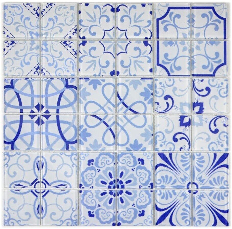 Mosaïque carreau translucide rétro Blau malta cuisine 68-Retro-M_f   10 plaques