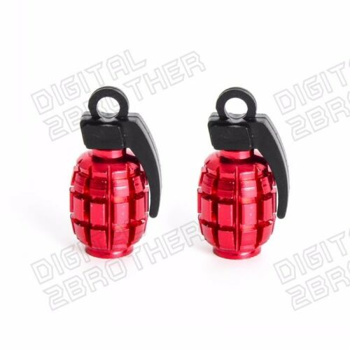 Grenade Tire Wheel Valve Stem Caps Anodized Red For Car Truck Motorcycle