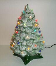 """Vtg Ceramic Christmas Tree Flocked Holland Mold 15"""" Tall 1970's"""