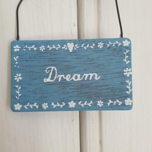 BLUE WOODEN DREAM OR BELIEVE CHIC N SHABBY RUSTIC MINI PLAQUE