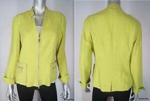 Lafayette-148-Blazer-Jacket-Size-8-10-M-Linen-Leather-Trim-Yellow-Zip-Resort