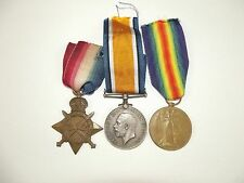 British WW1 1914/15 Medal Trio Pte. E. Fletcher. York & Lanc. Regiment