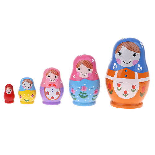 5 Pcs Wooden Babushka Russian Nesting Doll Hand Painted Colorful Figures Toy