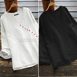 Mode-Femme-Chemise-Loose-Decontracte-lache-Col-V-Manche-Longue-Shirt-Tops-Plus