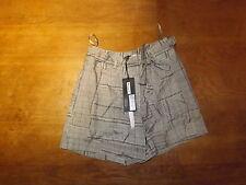Nuevo ex-m & s Ladies Autógrafo CAQUI CUADROS Pure Viscosa pantalones cortos + Cinturón Talle 8 (35 Libras)