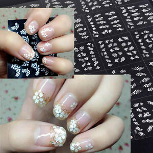 Nail Art White Stickers Flowers Butterfly With Stones 3d Design