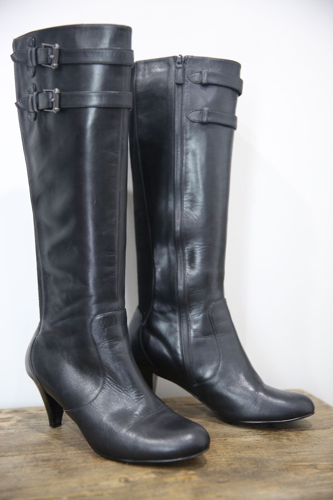 Cole Haan Colehaan Women's Black Leather Knee High Boots Strap Buckle Size 8.5 B