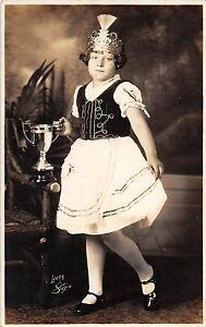 Girl Irish Jig Dancer Winner with Trophy Real Photo Antique Postcard (J25124)
