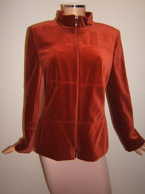c6d0b204b AKRIS Bergdorf Goodman 12 Cinnamon Red Velvet Designer Womens Jacket Blazer