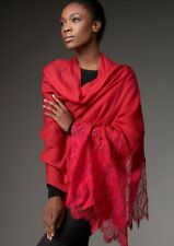 New Authentic Valentino Red/ Rosso Lace -overlay Cashmere Shawl Scarf $1395
