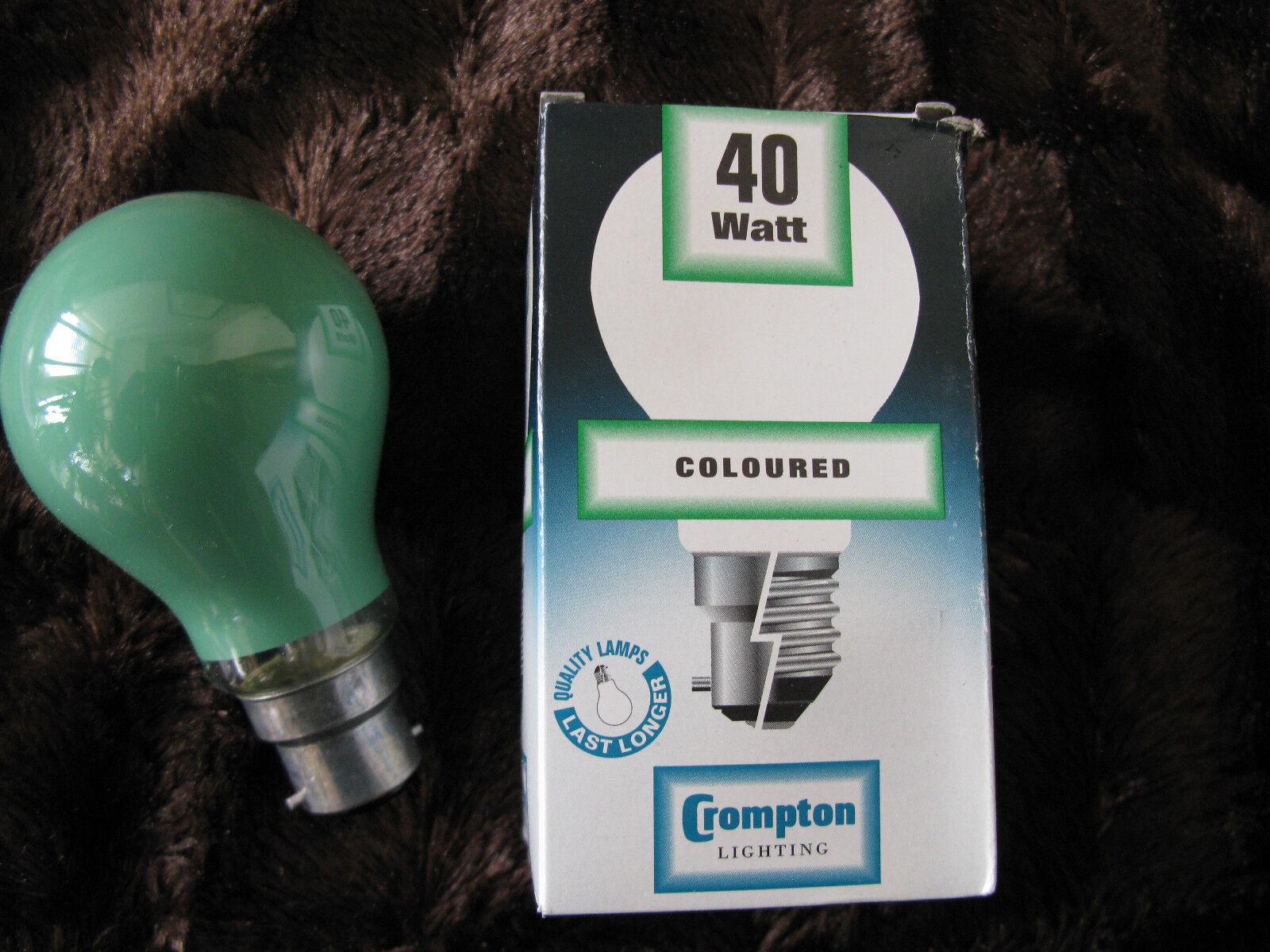 12 x Crompton 40W GREEN BC B22 Coloured Lamp Light Bulb 240V Job Lot UK Seller