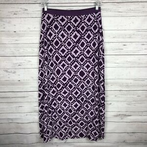 Fresh-Produce-Womens-Maxi-Skirt-Size-L-Purple-Ikat-Print-Casual-Spring-Summer