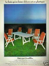 Publicité advertising 1979 Le Mobilier de Jardin Patio par Grosfillex