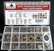 225pc Goliath Industrial Sssr225 Stainless Steel Snap Ring Assortment