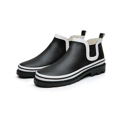 Mens casual pull on work rubber waterproof rain boots ankle boots