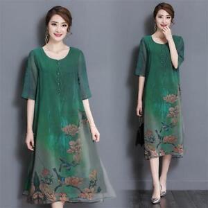 66b20e7764 Womens Floral Loose Vintage Casual Summer Silk 3 4 Sleeve Tunic Maxi ...