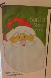 NEW-Celebrate-It-034-SANTA-STOPS-HERE-034-CHRISTMAS-APPLIQUE-GARDEN-FLAG