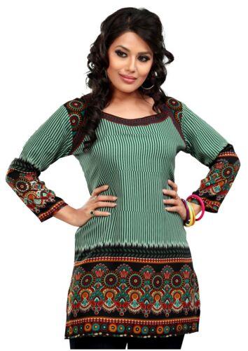 Women Pakistani Indian Short Kurta Tunic Green Kurta Top Shirt Dress 55C