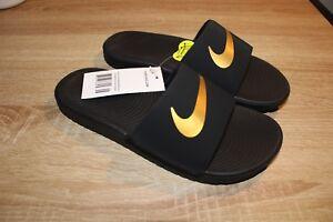 12ddbcda685 NEW Youth Sizes Nike Kawa Slide Sandals in Black Metallic Gold