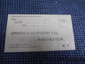 Details about Antique GREEN'S NURSERY Co  Rochester NY Mail-Order Envelope  UNUSED Old Vtg