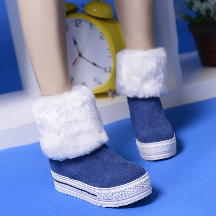 Womens Ladies Fashion Faux Suede Fur Lined Cuffed Winter Snow Boots shoes iqqm