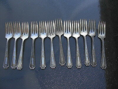 1939  International Silver Flatware Court Silver Plate 6 pc Salad Fork not shown Made in USA