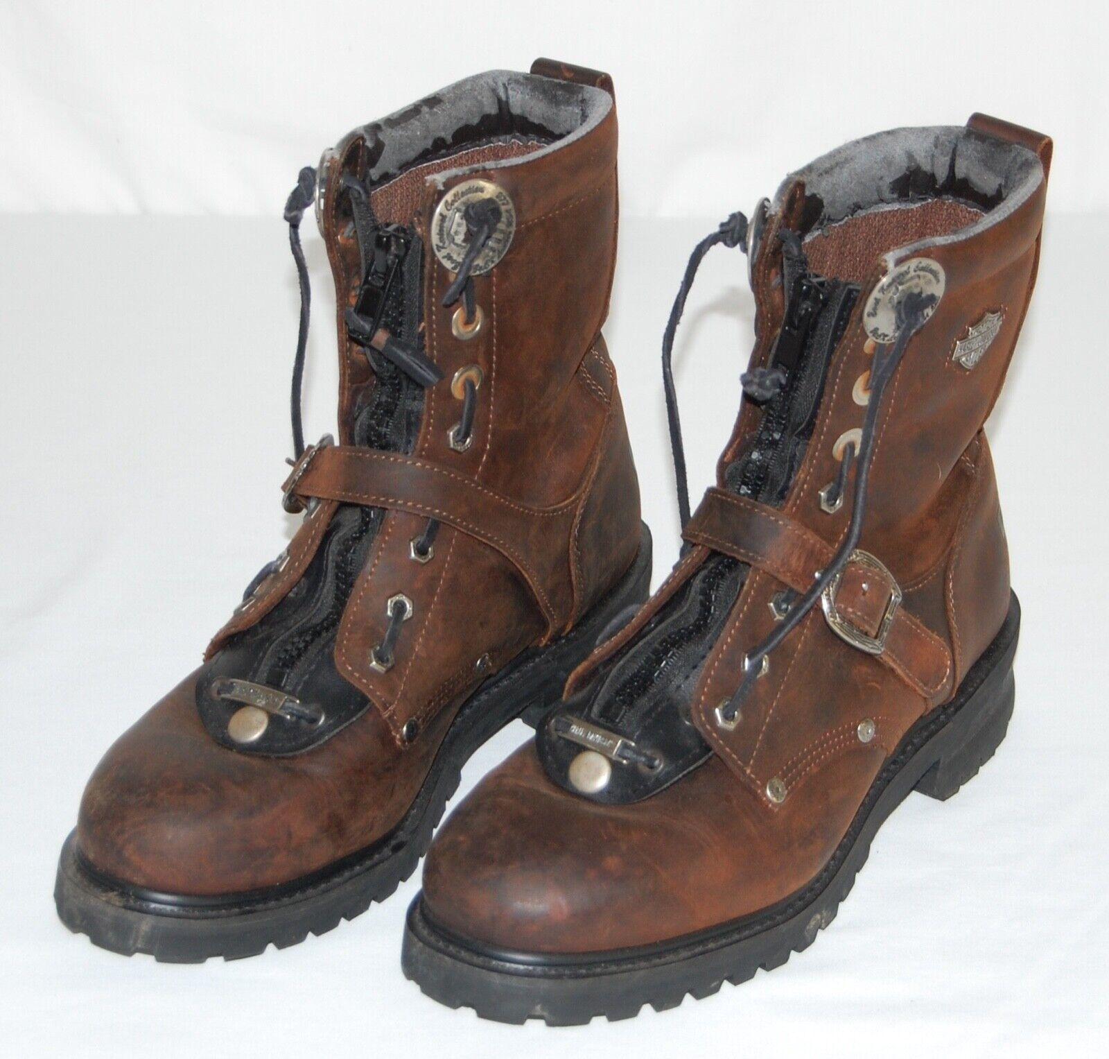 HARLEY EVIL KNIEVEL marróns Cuero con Cordones Cremallera jefe Biker botas para Hombre 12 D
