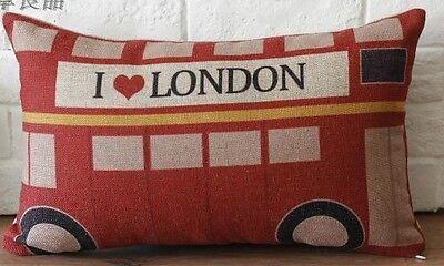 Vintage Cotton Linen Cushion Cover Home Decor London Bus I love London