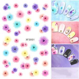 Nail-Art-Pegatinas-Transfers-Calcomanias-De-Agua-Flores-de-primavera-Pastel-Floral-XF3001