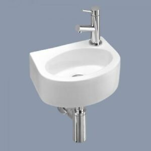 Remarkable Details About Small Compact Tiny Bathroom Cloakroom Basin Sink Wall Hung Curved With Fixings Download Free Architecture Designs Grimeyleaguecom
