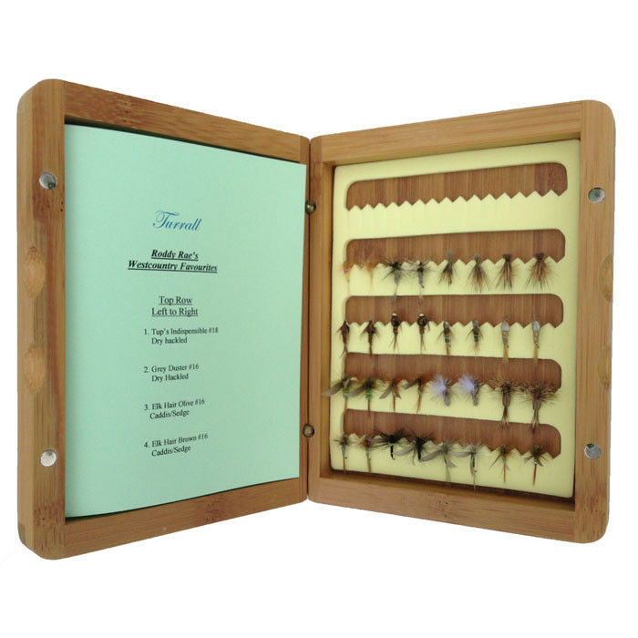 Great Gift Turrall Bamboo Presentation Fly Box 32 Quality West country flies