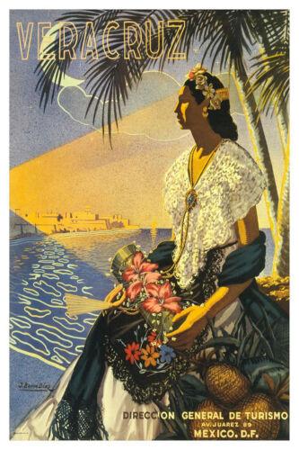 MEXICO Veracruz Vintage Mexican Travel LARGE METAL TIN SIGN POSTER
