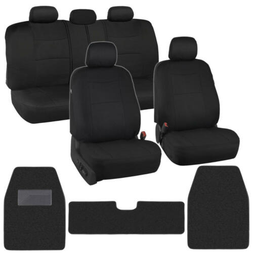 12pc Car Seat Covers Carpet Floor Mats Liners Black Stitched Polyester Cloth Rug