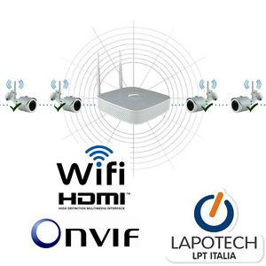 kit videosorveglianza wifi wi fi nvr onvif 8 canali 4 ip