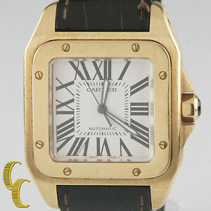 Cartier-Santos-100-2657-Automatic-18k-Yellow-Gold-Watch-w-Leather-Band-Gift